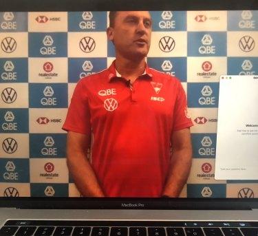 Sydney Swans coach John Longmire conducts his weekly press conference via a video webinar.