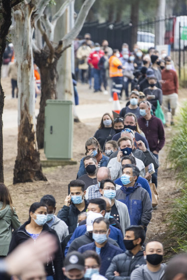 Long queues of people were seen at the NSW Vaccination Centre in Homebush this week.