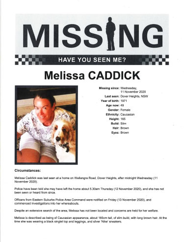 A missing person documents for Melissa Caddick.