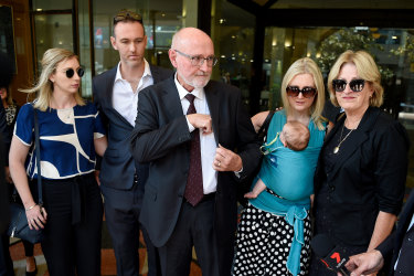 Family and friends of Annabelle Deall outside Downing Centre Court in Sydney on Friday.