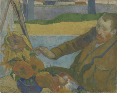 Although they had a serious falling out, Paul Gauguin painted this portrait, Vincent van Gogh Painting Sunflowers, in Arles in 1888.