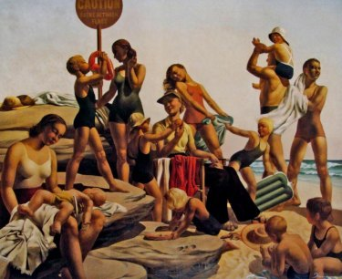 Freda Robertshaw's Australian Beach Scene (c. 1940)