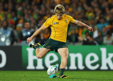 James O'Connor kicks a penalty for the Wallabies in his younger days.