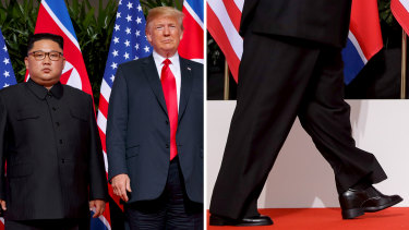 Kim may have worn platform heels or inserts in his shoes to make up for the height discrepancy.