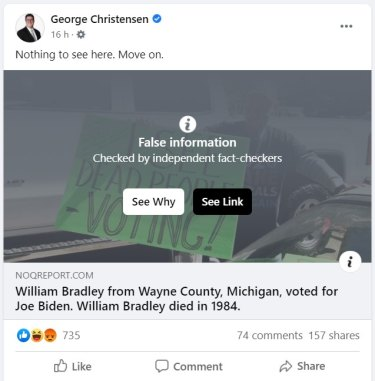 Screenshot of Facebook post made by coalition MP George Christensen about the US presidential election.