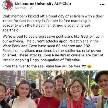 Labor MP Ged Kearney attended a pro-Palestine rally in Melbourne, with pictures posted on Facebook before they were removed.