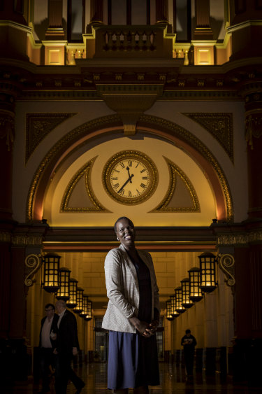 Former refugee Nyadol Nyuon's favourite place is the foyer of 333 Collins Street, where she is now a lawyer.