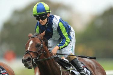 Rachel King wins the Hobartville Stakes on Brandenburg in February.