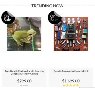 Ethical questions: genetic engineering kits for sale on the website of The Odin, complete with live frogs.
