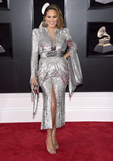 Chrissy Teigen arrives at the 60th annual Grammy Awards in New York on January 28.