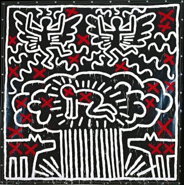 Keith Haring, Untitled 1982; acrylic on vinyl tarpaulin with metal grommets.