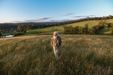 Yuin man Bruce Pascoe on his property called Yumburra near Mallacoota where he grows Australian grasses, including mandadyan nalluk  (dancing grass).
