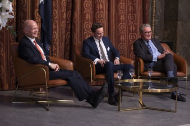 Former Tory Leader and former British Foreign Secretary William Hague addresses the Britain-Australia Society in conversation with former Foreign Minister and High Commissioner to the UK Alexander Downer at Australia House, London.