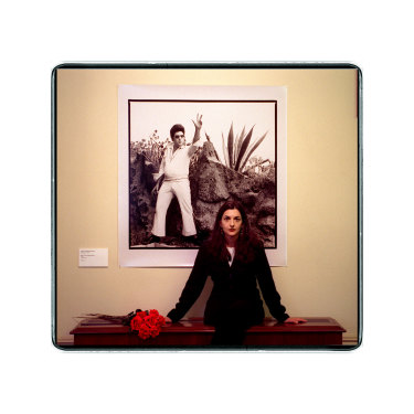 Papapetrou in 1998 with a work from her exhibition Elvis Immortal.