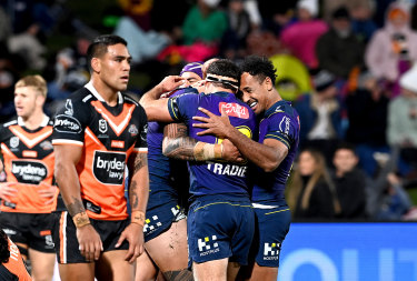 Melbourne ran in the first 10 tries before the Tigers managed to respond with one of their own.