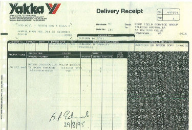 A receipt showing Bradley Edwards received his navy trousers in 1995.