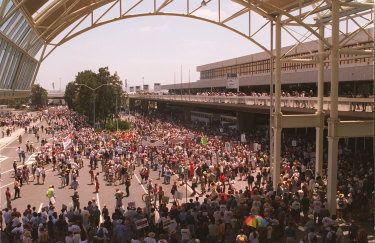 Controversial: thousands of protestors at Sydney International Airport on December 17, 1994