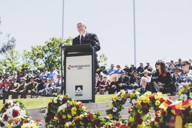 Prime Minister Scott Morrison delivers his Remembrance Day address
