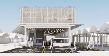 A view of the proposed temporary greenhouse pavilion, in Queen Street.