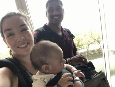 Chelsea Sonkar with her husband Sanjay and their one-year-old son Milo.
