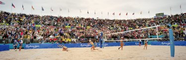The unbridled emotion of Natalie Cook and Kerri Pottharst winning beach volleyball gold.