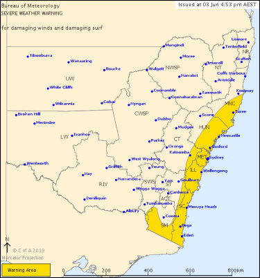 A severe weather warning issued on Tuesday afternoon stretches from Victoria to the Mid North Coast of NSW.