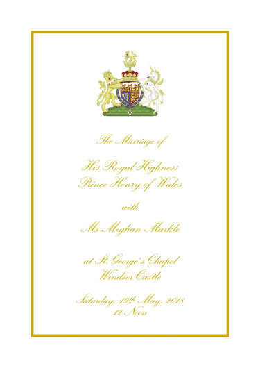 The cover of the Order of Service for the wedding of Prince Harry and Meghan Markle.