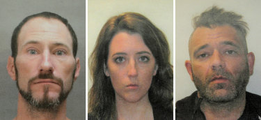 This November 2018 combination of photos provided by the Burlington County Prosecutors office shows (from left) Johnny Bobbitt, Katelyn McClure and Mark D'Amico.