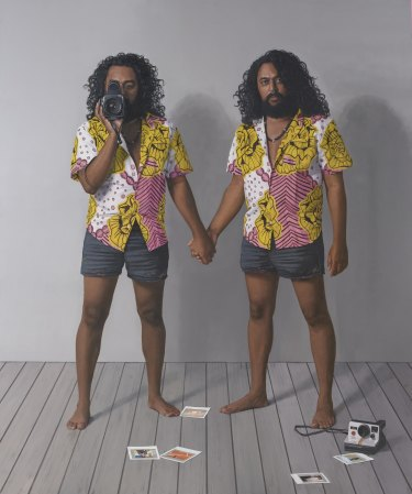 Jonathan Dalton's  'Ramesh and the artist Ramesh'Sitter: Ramesh Nithiyendran.