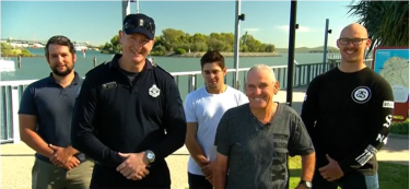 Acting Senior Sergeant Brad Foat and Peter Corke (front) speaking on the Today show with the three kayakers.