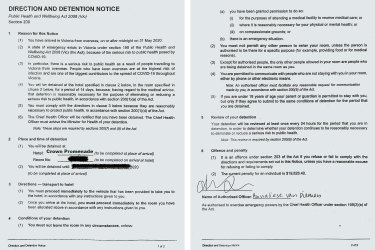 A detention notice given to an international traveller sent to one of the quarantine hotels.