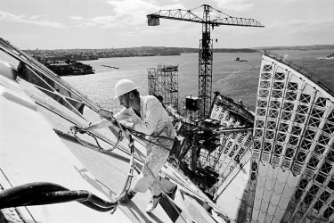 Sealing the Sydney Opera House roof joints, 1966.