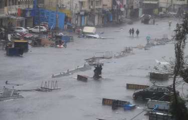 A flooded road in Puri on Friday.
