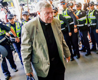 Cardinal George Pell arrives at court during last month's hearing.