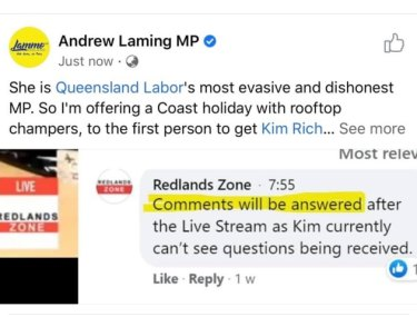 Facebook post created by Queensland Liberal MP Andrew Laming.