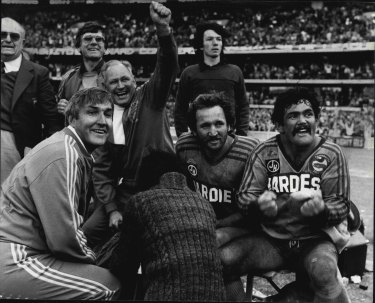 Jubilation from Alf Richards, Ray Price and Kevin Stevens as Parramatta score their last try.