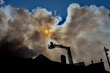 The warehouse fire started at a factory on Australia Street in Camperdown about 9.30am.