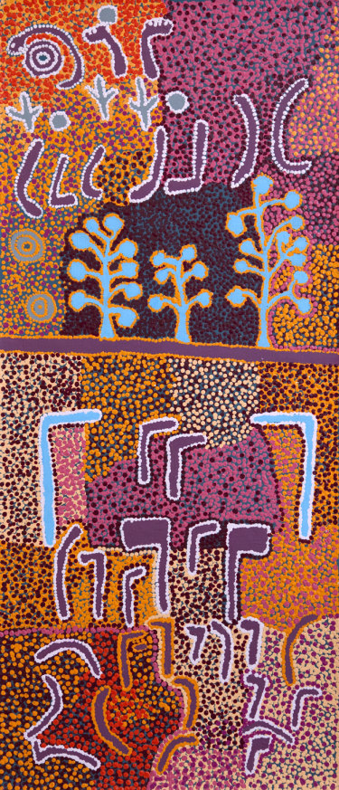 Paddy Japaljarri Stewart's 2011 painting <i>Purlka-purlka Jukurrpa</i> (Old Men Dreaming) shows the Old Men's range of weaponry in a battle between the Japaljarris and the Japangardis.