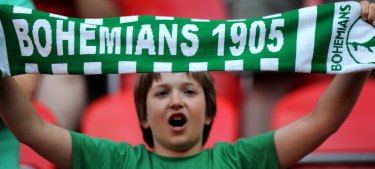 A young Bohemians 1905 fan shows his support during the Czech First League match between Bohemians 1905 and FK Mlada Boleslav.