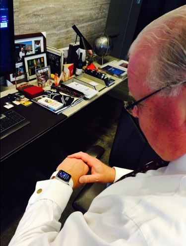 ANZ chief executive Mike Smith with his Apple Watch.