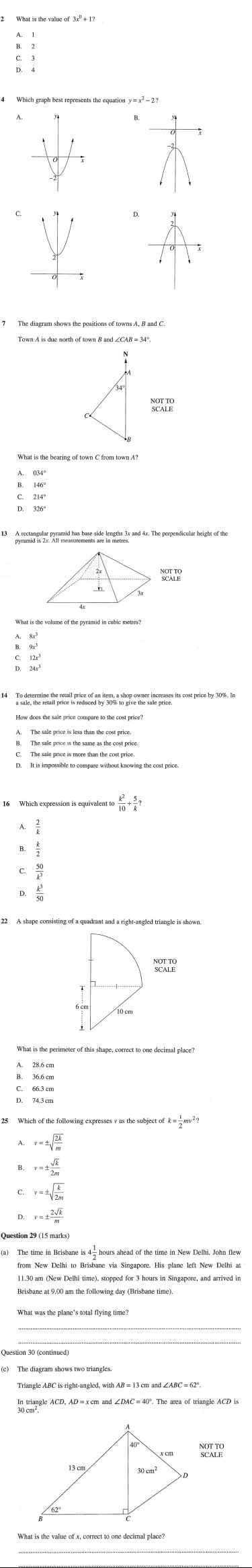 A selection of questions from this year's HSC maths exam.