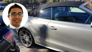 SiddharthaMaharaj, who is being investigated for stalking a junior colleague, and the damaged Audi he was arrested in connection with.
