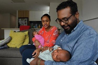 Lobaba Idris and Karim Badri with their twins, Lalya and Zayn.