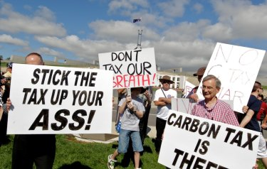 Carbon tax protesters outside Parliament House in 2011.