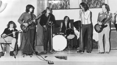 The school band at Caulfield Grammar, 1973. From left, Mick Harvey, John Cocivera, Chris Coyne, Phill Calvert, Nick Cave and Brett Purcell. Photographer unknown.