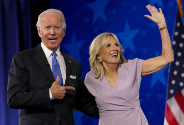Joe Biden with his wife, Jill, at the Democrats' convention in August.
