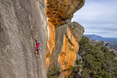 This image was supplied to show the low impact of climbing on the Grampians.