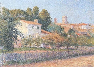 Vue d'Elne, a painting thought to have been painted by French artist  Étienne Terrus around 1900.