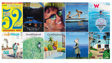 Some of the '52 Weekends Away' covers from throughout the 30 years of publication.