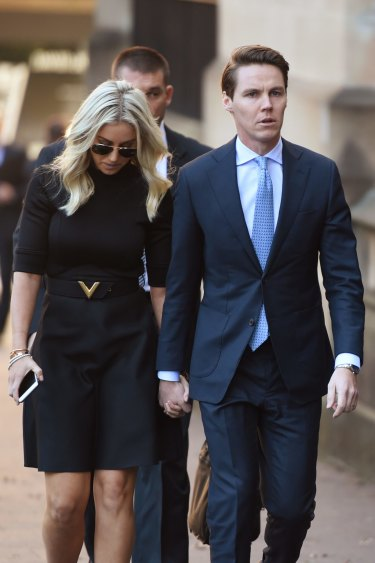 Stockbroker Oliver Curtis and wife Roxy Jacenko arrive at the Supreme Court in May.